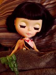 022-365 How TMQ fell asleep last night (irulethegalaxy) Tags: sleeping doll quinn skateboard blythe mighty sbl rdp spacegun tmq mightyquinn rainydayparade themightyquinn