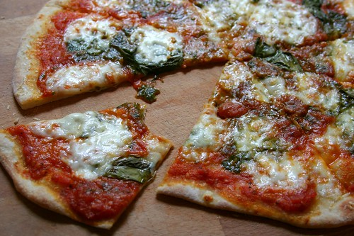 mmmmmm - pesto, fresh mozzarella, basil and spicy tomato sauce pizza