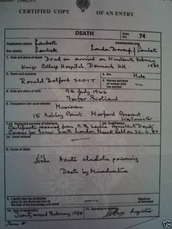 Bons Death Certificate Bon Scott Blog