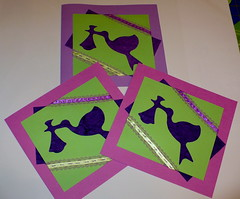Stork cards reproduction (Zayasa) Tags: pink scrapbooking purple handmade card ribbon stork dmcthread bananahandmadepaper