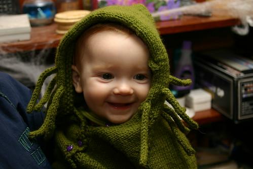 bebé disfrazado de Cthulhu