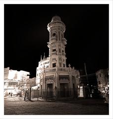 Clock Tower , Sukkur. (Explored). (Commoner28th) Tags: road street city pakistan urban building tower heritage history clock architecture night dark nikon exposure cross ghar british ahmed sindh csa agha waseem commoner d40 sukkur ghanta rohri kommoner commoner28th simplystunningshots roundnight ocommoner28th
