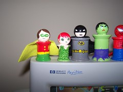 Robin, Poison Ivy and Batman (jestadt) Tags: robin comics dc crafts spiderman ironman superman batman joker superheroes hulk marvel poisonivy harleyquinn spooldolls