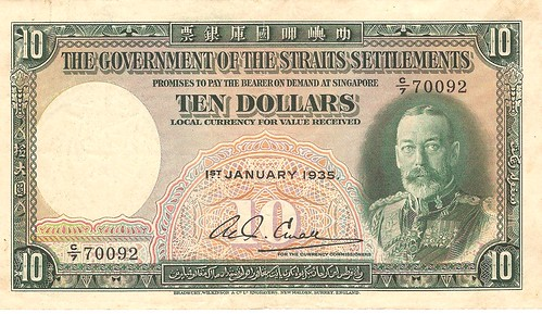 Ten Dollars 1935, King George V, Straits Settlements Bank Note