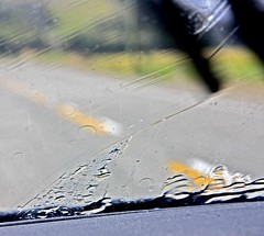 On the Road (happyrach8) Tags: road wet rain smudge drop windshield wipe windscreen wipers raindrop wiper lovephotography