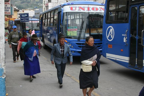 Old man, new bus. Ambato, Ecuador.