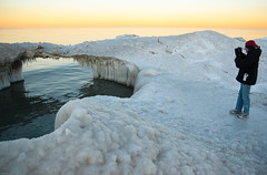 Exploring the Ice Bridge (Jonathan Lurie) Tags: winter lake cold ice d50 nikon dusk lakemichigan explore wilmette icebridge mywinners