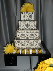 yellow and black (Josef's Vienna Bakery) Tags: wedding food black yellow cake modern tile dessert marisa contemporary weddingcake nevada tahoe dixon bakery reno bridal sparks elisabeth hess josefs marisahess