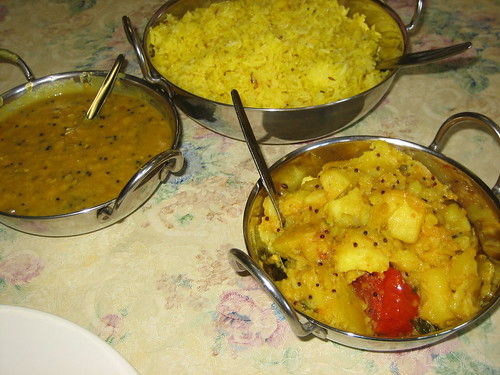 dhal, potatoes and rice at curry affair