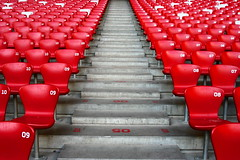 Stadium Walkway (YY) Tags: china red sports stairs grey chairs stadium beijing seats olympic birdsnest repeatedpatterns