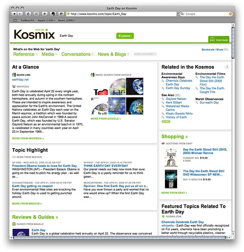 Kosmix.com Search Results for Earth Day