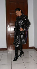 Shiny Black Trench (johnerly03) Tags: black fashion asian boots coat philippines double trench filipina knee length paten patent breasted erly