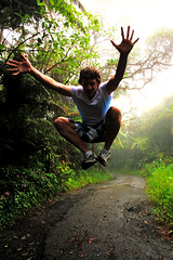 El Yunque Rainforrest, playing leap frog? (PhilJohnsonPhoto) Tags: mountains rain jump jumping woods forrest puertorico spiderman scene explore sanjuan trail jumper elyunque rainforrest