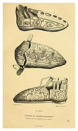 001-Calzado del emperador Carlomagno siglo IX-Histoire de la chaussure depuis l'antiquité-1862- Paul Lacroix y Alphonse Duchesne