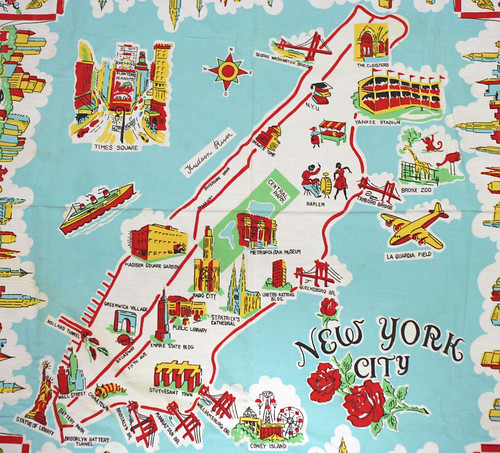 Awesome NY Souvenir Map From The 50s – Map Manhattan Ny