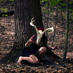 142/365 the woodland escape [explore #288] (Caitlyn Penke) Tags: selfportrait nature girl animal self photography skull woods manipulation deer antlers 365 caitlyn selfie animalistic penke