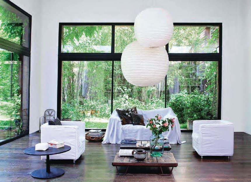 Mark Eden Schooley via Marie Claire Maison {white rustic modern loft living room}