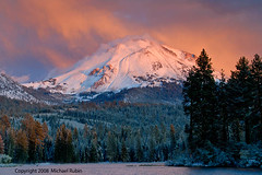 #K172  Rising Storm, Lassen Peak, Lassen National Park (Michael Rubin 37) Tags: sunset lake snow storm clouds evening lassen mountlassen manzanitalake lassenpeak lassennationalpark lassenpark