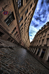 Cobbled Street ~ Cool Curves ~ Riga ~ Latvia (Magdalen Green Photography) Tags: street sign architecture perspective latvia cobbles magdalengreen oldtown riga cobbledstreet coolcurves iaingordon magdalengreenphotography