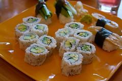 avocado roll/avocado tempura roll/asparagus nigirl/eggplant nigiri