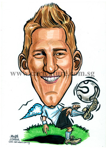 Caricature of Bastian Schweinsteiger colour watermark