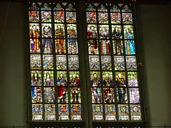 Stained glass windows inside the Nieuwe Kerk