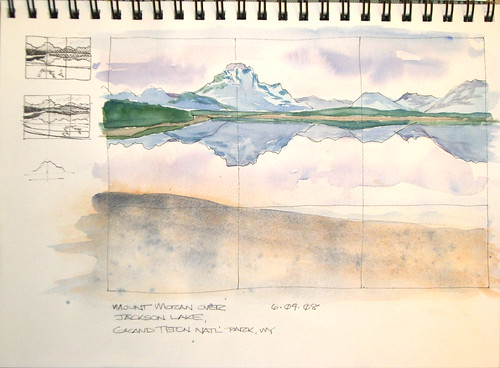 Watercolor Sketch - Mount Moran Over Jackson Lake