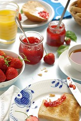 Sunday Morning (Thorsten (TK)) Tags: morning blue red food orange glass breakfast germany table tea toast sunday strawberries basil orangejuice jam arrangment erdbeeren breadrolls foodphotography foodpresentation foodstyling thorstenkraska
