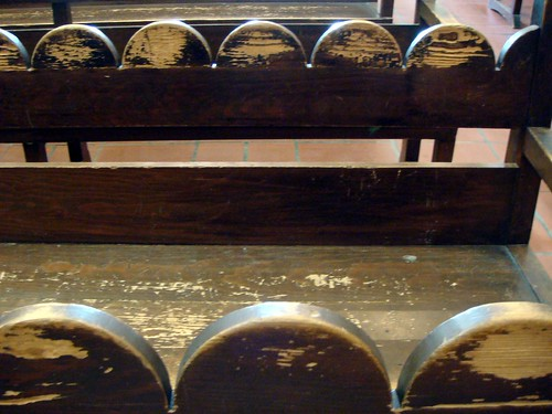 Mission: Bench pew worn down from devotion