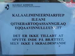 Skilt ved brttet i Jakobshavn (rasmuskristensen) Tags: grnland