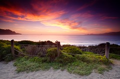 Weathered Fence at Baker Beach (Nick Carver Photography) Tags: ocean sanfrancisco california ca travel blue sunset red summer orange plants usa green beach nature weather yellow horizontal clouds landscape landscapes sand purple nick roadtrip carver bakerbeach presidio goldengatenationalrecreationarea nickcarver ncpfineartprint