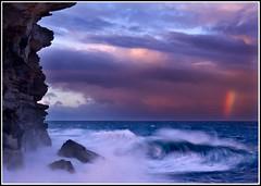 Storm's End (down_the_rabbit_hole) Tags: ocean light sunset sea sky seascape storm water clouds skyscape landscape rainbow bravo rocks dusk wave cliffs supershot mywinners wowiekazowie bestofaustralia