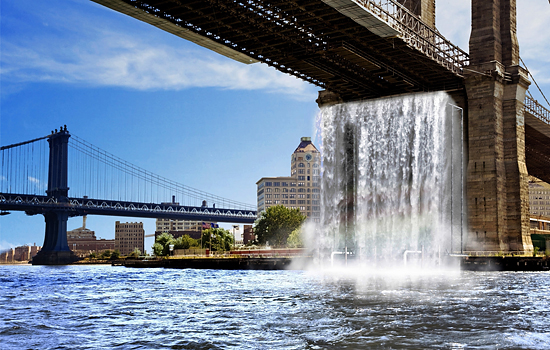 "Rendering of ""New York City Waterfalls"" by the artist Olafur Eliasson"