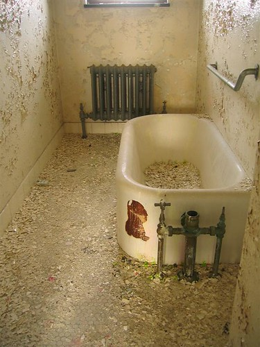 Bathtub filled with paint chips in the old hospital