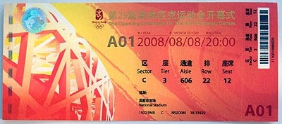beijing ticket to opening ceremony
