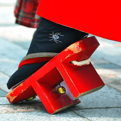 Geta (ajpscs) Tags: wood red socks japan japanese tokyo spider interestingness interesting nikon bell traditional explore tabi thong harajuku flipflops clogs  nippon  geta  d300 foor     japanesesocks ajpscs zri