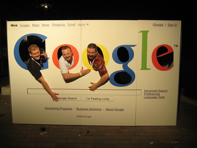 Ross Dunn (middle) and John Carcutt (right) of SEO 101 at WebmasterRadio.FM at a Google Party on Google's Campus with their good friend Darrell Long shown on the left