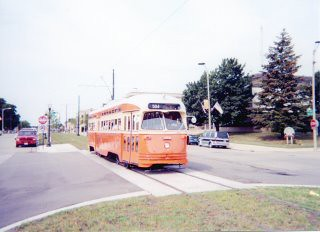 Eastbound orange Kenosha Wisconsin PCC streetcar. Kenosha Wisconsin. September 2000. by Eddie from Chicago