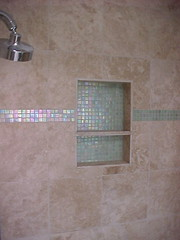 BATHROOM MOSAIC SHOWER NICHE (carpentryman) Tags: door house home window kitchen drywall floors tile bathroom shower newjersey construction bath counter sink cabinet vanity nj molding installation tub faucet framing renovation remodel flooring fixture install moulding contractor improvement carpentry renovate builder remodeling tiling carpenter sheetrock backsplash cherryhill installer countertops baseboard camdencounty remodeler