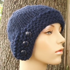 Chunky Cloche Hat in Navy