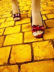 The Yellow Brick Road (Nika Fadul) Tags: road red brick yellow way dorothy shoes rubyslippers wlaking colourartaward mnicafadul wonderfulwizardofoz nikafadul