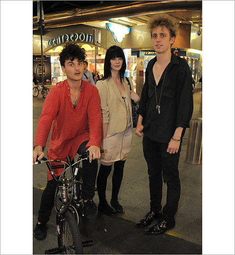 Fashion shot with hair and bike, Street fashion Pitt Street Sydney