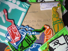 One Vis - France (musma gallery) Tags: street brussels streetart art sticker gallery expo belgium handmade stickers bruxelles exhibition international autocollant rtt musma stickmehard