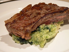 Steak, Mashed Potatoes with Cavolo Nero