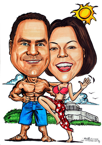 Couple caricatures holiday in Athens