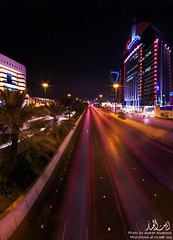 King Fahad Road, Riyadh, Saudi Arabia (Ayman Aljammaz) Tags: road longexposure travel blue light panorama motion tower night canon buildings lights long exposure king cityscape ninja skylines kingdom panoramic citylights saudi arabia riyadh fahad mkii ksa olia kingdomtower   nodal     nn3 40d  olaiya