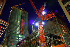 Entertainment District construction at night