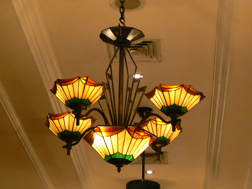 Art Deco lights in the Sarkis restaurant in the Hotel Majapahit Surabaya Indonesia