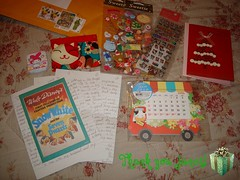 Birthday Gifts, Pen Pal Letter and Christmas Card From Janet (Dreaming Magpie) Tags: birthday christmas cow sticker thankyou calendar stamps card gift pouch kawaii hamster letter snowwhite package christmascard penpal luckycat sevendwarfs mymelody memopad penpalletter janetstore