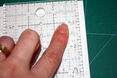Aligning the ruler for cutting